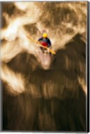 Birds-eye view of kayaker on Androscoggin River, blurred motion, New Hampshire Fine-Art Print