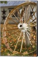 New Hampshire, Lake Winnipesaukee, Moultonborough, old wagon wheel Fine-Art Print