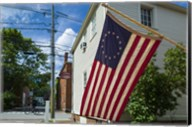 New Hampshire, Portsmouth, Strawberry Banke Historic Area, building with US flag Fine-Art Print
