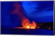 Lava Flowing Into Ocean, Hawaii Volcanoes National Park, Big Island, Hawaii Fine-Art Print