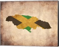 Map with Flag Overlay Jamaica Fine-Art Print