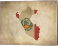 Map with Flag Overlay Peru Fine-Art Print