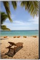 Beach, palm trees and lounger, , Fiji Fine-Art Print