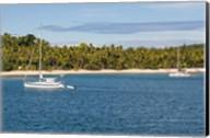 Little sailboat in the blue lagoon, Yasawa, Fiji, South Pacific Fine-Art Print