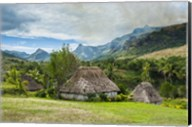 Traditional thatched roofed huts in Navala in the Ba Highlands of Viti Levu, Fiji Fine-Art Print