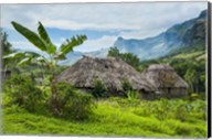 Traditional thatched roofed huts in Navala, Fiji Fine-Art Print