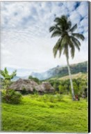 Traditional thatched roofed huts in Navala in the Ba Highlands of Viti Levu, Fiji, South Pacific Fine-Art Print
