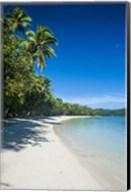 White sand beach and water at the Nanuya Lailai island, the blue lagoon, Fiji Fine-Art Print