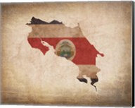 Map with Flag Overlay Costa Rica Fine-Art Print