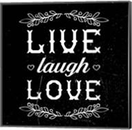 Live Laugh Love-Black Fine-Art Print