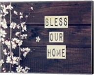 Bless Our Home Flowers on Wood Background Fine-Art Print