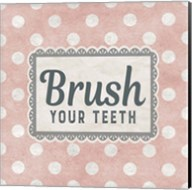Brush Your Teeth Pink Pattern Fine-Art Print