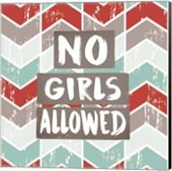 No Girls Allowed Chevron Pattern Red Fine-Art Print