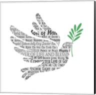 Names of Jesus Dove Silhouette White Fine-Art Print