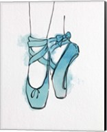 Ballet Shoes En Pointe Blue Watercolor Part III Fine-Art Print