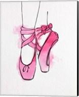 Ballet Shoes En Pointe Pink Watercolor Part III Fine-Art Print