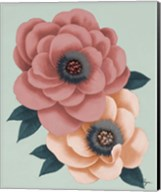 Pink Flowers on Mint I Fine-Art Print