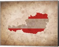 Map with Flag Overlay Austria Fine-Art Print