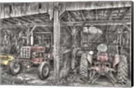 Two Red  Tractors BW Fine-Art Print