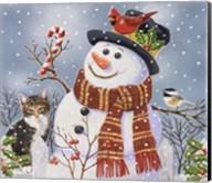 Snowman and Kitten Fine-Art Print