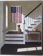 Dog On Stairs Fine-Art Print