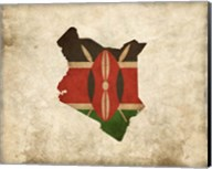 Map with Flag Overlay Kenya Fine-Art Print