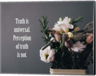 Truth Is Universal - Flowers on Gray Background Yellow Tint Fine-Art Print
