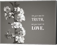 Use Your Mind For Truth - Flowers on Branch Grayscale Fine-Art Print