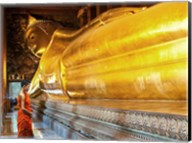 Praying the reclined Buddha, Wat Pho, Bangkok, Thailand Fine-Art Print