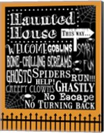 Haunted House Welcome Flag Outlines Fine-Art Print