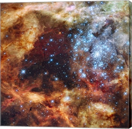 Framed Hubble's Festive View of a Grand Star-Forming Region Print