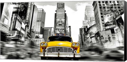 Framed Vintage Taxi in Times Square, NYC Print