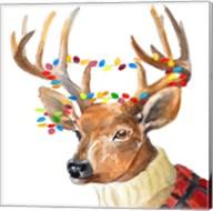 Christmas Lights Reindeer Sweater Fine-Art Print