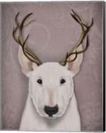 Bull Terrier and Antlers Fine-Art Print