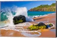 Surf Crashing On Rocks At Secret Beach, Kauai, Hawaii Fine-Art Print