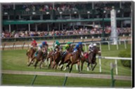 Horses Racing On Turf At Churchill Downs, Kentucky Fine-Art Print
