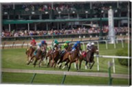 Horses Racing On Turf At Churchill Downs, Kentucky Fine-Art Print