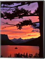 St Mary Lake And Wild Goose Island At Sunset Fine-Art Print