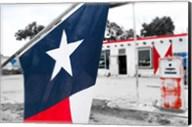 Flag At An Antique Gas Station, Texas Fine-Art Print