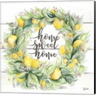 Watercolor Lemon Wreath Home Sweet Home Fine-Art Print