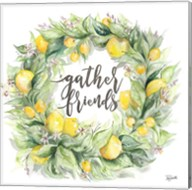 Watercolor Lemon Wreath Gather Friends Fine-Art Print