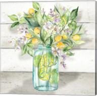 Watercolor Lemons in Mason Jar on shiplap Fine-Art Print