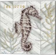 Gray Gold Chevron Seahorse Fine-Art Print