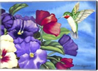 Hummingbird and Pansies Fine-Art Print