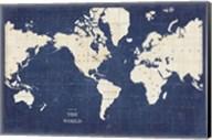 Blueprint World Map - No Border Fine-Art Print