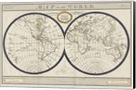 Torkingtons World Map with Indigo Fine-Art Print