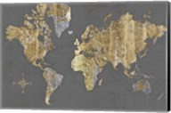 Gilded Map Gray - No Border Fine-Art Print