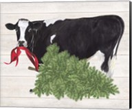 Christmas on the Farm II Cow with Tree Fine-Art Print
