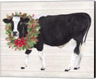 Christmas on the Farm III Cow with Wreath Fine-Art Print