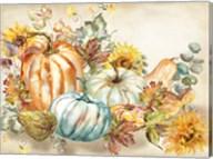 Watercolor Harvest Pumpkin landscape Fine-Art Print